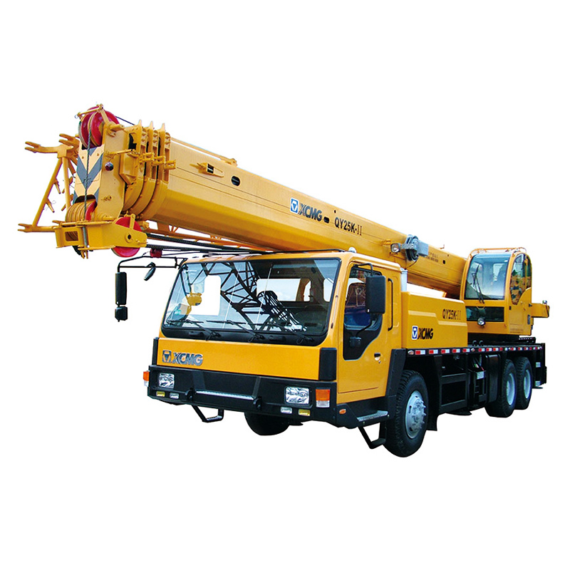 Fully extended boom and jib 45 meters 25ton truck crane QY25K-II in UAE