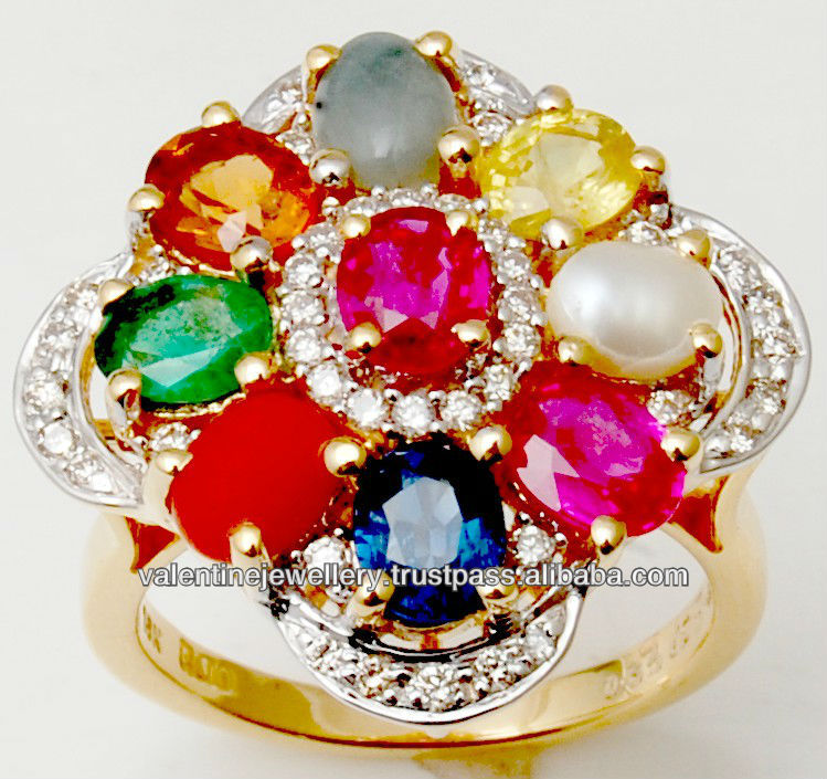 Multi Gemstone Navratna Ring Precious 9 Stone Gold Ring For Women