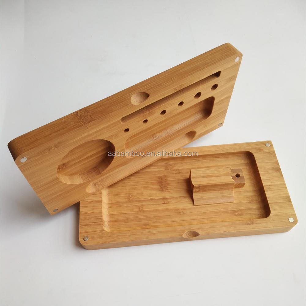 Magnetic Tobacco Smoke Bamboo Wooden Rolling Tray