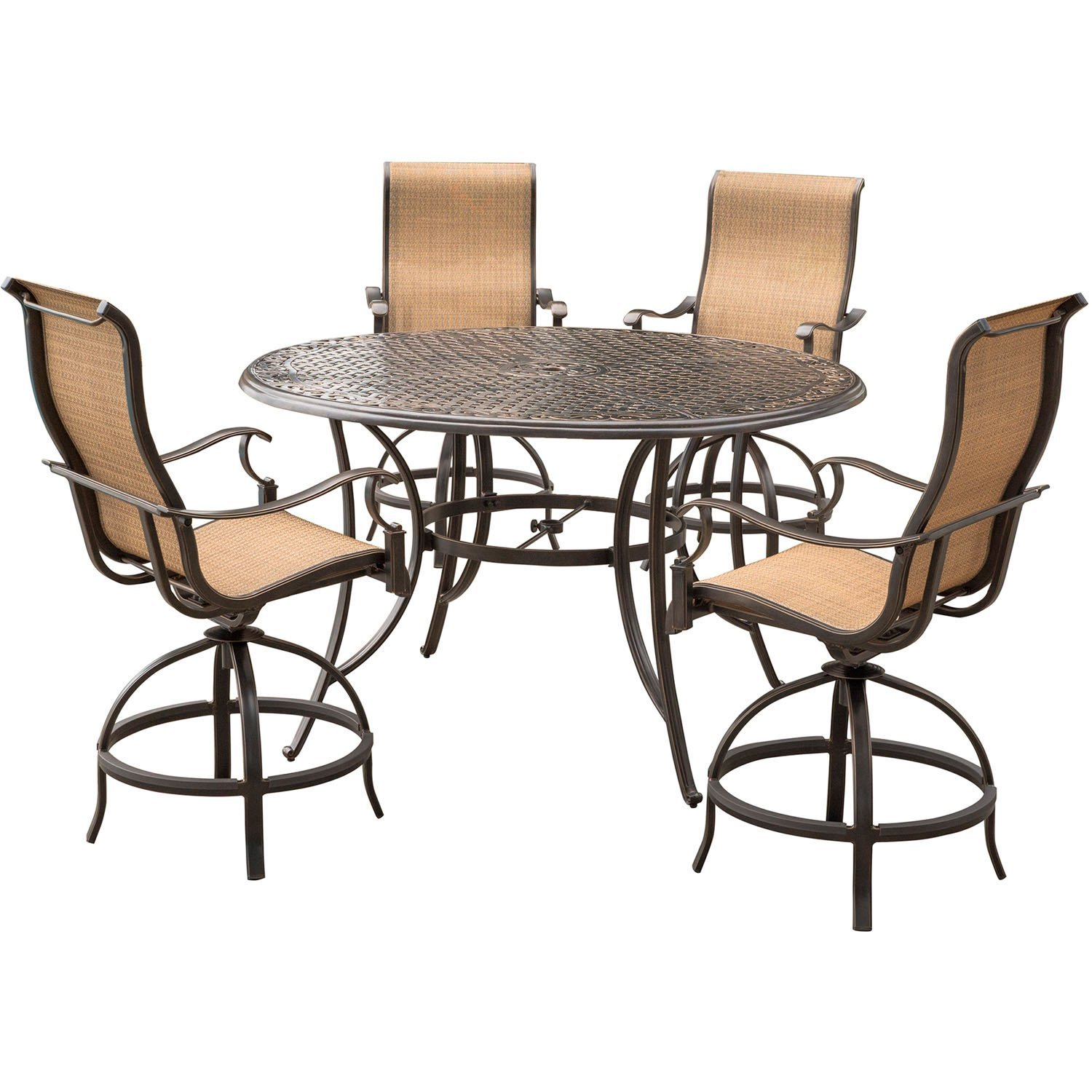 """Hanover MANDN5PC-BR Manor 5Piece High-Dining Set with a 56"""" Cast-Top Table & 4 Counter-Height Swivel Chairs, Tan (Pack of 5)"""