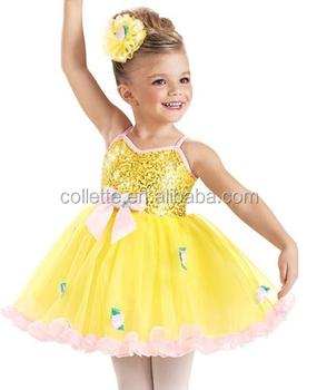 3a8e15f06 Mbq365 New ! Cute Kid Yellow Sequin Dance Dress Ballet Tuller Tutu ...