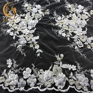2018 The new design 3d flowers embroidered white beaded fabric embroidery lace 3d lace fabric bridal