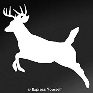 Runnin' Buck (White - Image Facing as Shown - Large) Decal Sticker - Big Game Collection - Deer