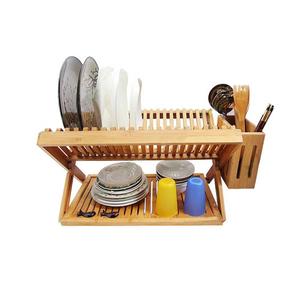 Bamboo 2 Tiers Dish Drying Rack Drainer Dryer Tray Plate Cup Storage tableware holder