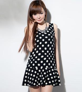04ee607f37a50f Großhandel damen kleider ärmellos koreanisch mode lässig frau sommer polka  dot Teenager-Kleidung