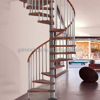Stainless Steel Center Column Solid Wood Tread Indoor Spiral Staircase