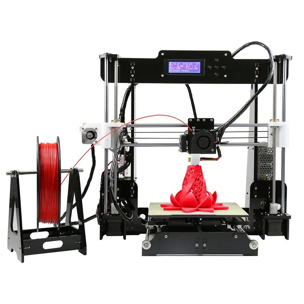Water-chestnut 3D Printer High Accuracy Prusa i3 DIY Kit DIY 3D Color Printing Printer Acrylic Frame Mechanical Kit Print 3 Materials LCD Filament Aluminum Structure Convenient DIY 3D Printer Acrylic