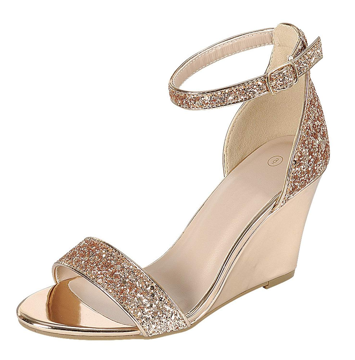 59de8f5d8213b9 Get Quotations · Cambridge Select Women s Open Toe Single Band Buckle  Strappy Ankle Glitter Dress Wedge Sandal