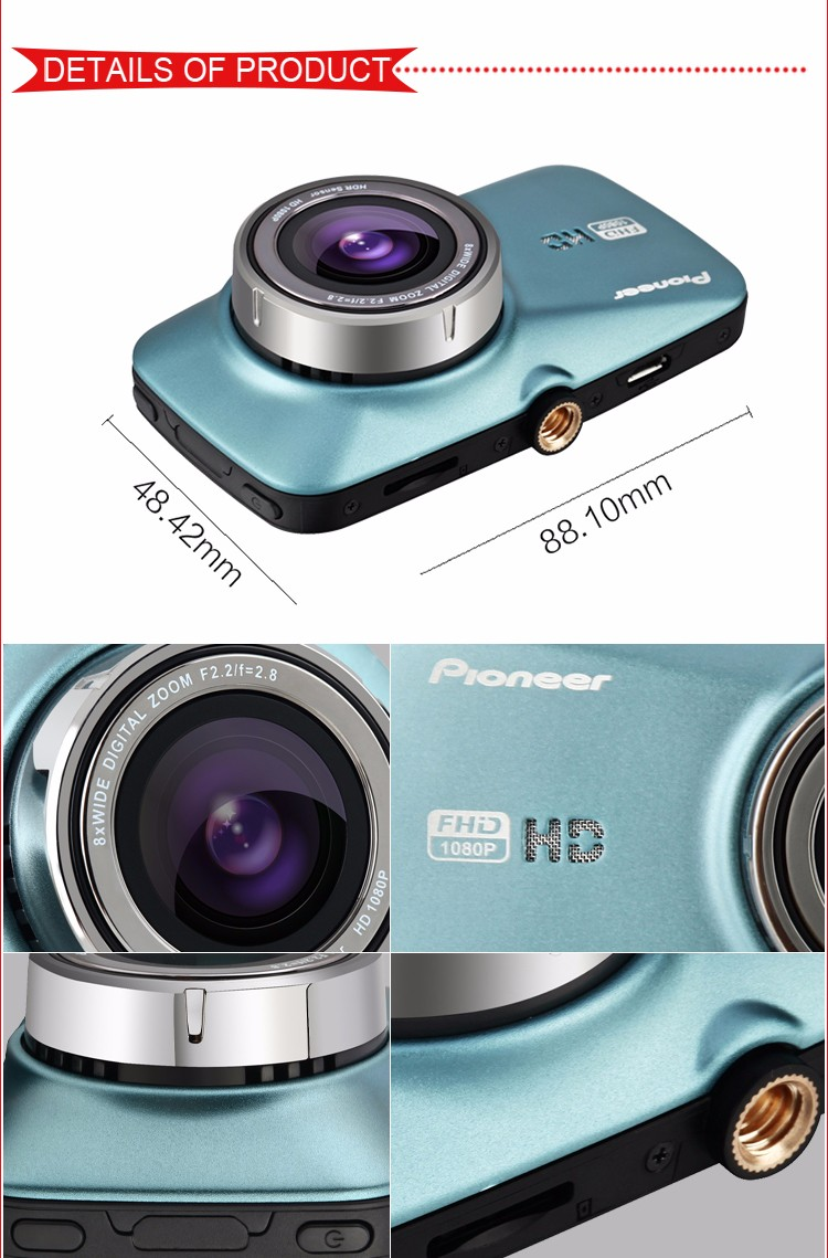 Pioneer 100% Original 1080P Pro Dash Cam with Micro SD Card Extend to 32GB Car camera