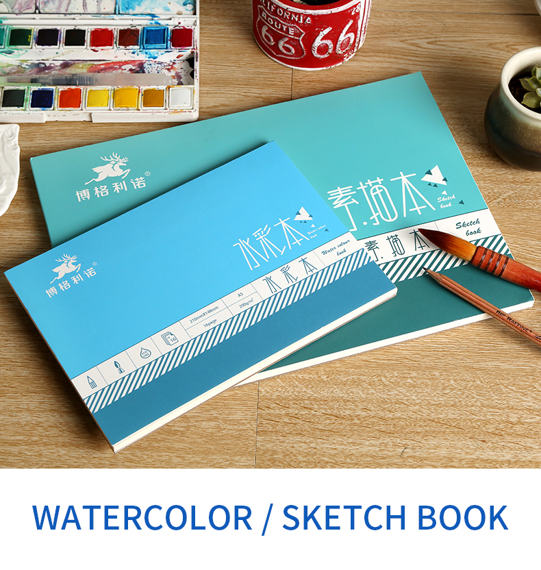 Bgln 1Piece Professional Watercolor/Sketch Paper 16/32Sheets Hand Painted Water-soluble Book Creative Office School Art Supplies