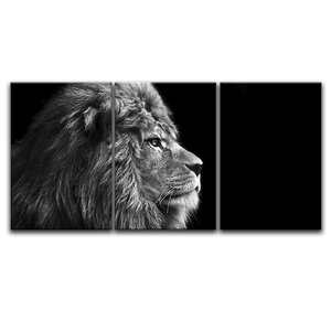 3 Panel HD Print Black and White Animal Group Picture Lions Giclee Custom