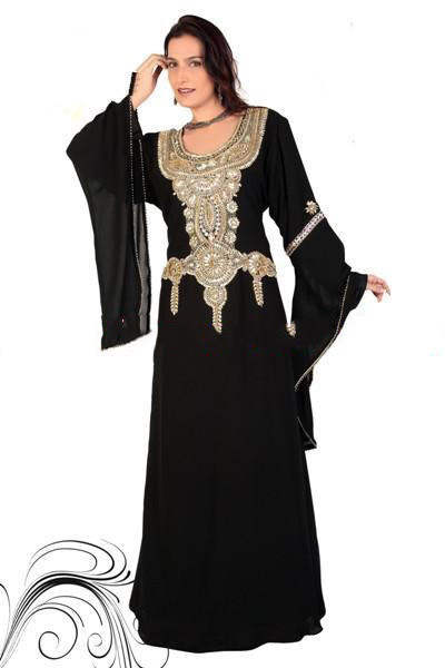 Get Quotations · New Arrival 2014 Dubai Fancy Kaftan Islamic Black Abaya  Long Sleeve Muslim Women Long Dress Arabic 3c5ad2009c0a