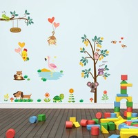 Cute animals tree wall stickers home decor kids