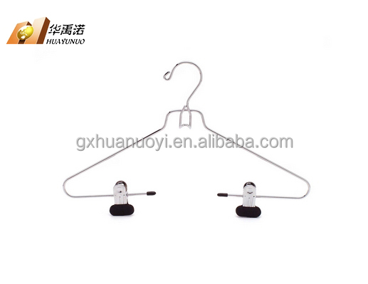 Metal hanger with PVC coated clips for suit / suit wire hanger / chrome belt rack
