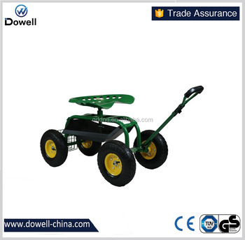 TC4501D Name Gardening Tools Garden Cart With SeatDTUV Verified Tractor  Style TC4501C Folding Rolling Steerable Garden