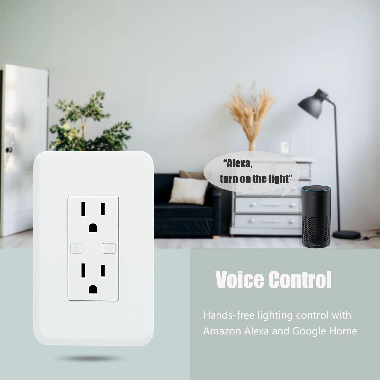 Hogar del diseño del OEM interruptor de salida inteligente pared salida wifi con 2 pin hembra