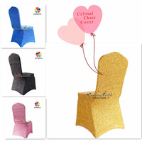 Wholesale shining wedding lycra gold banquet chair cover