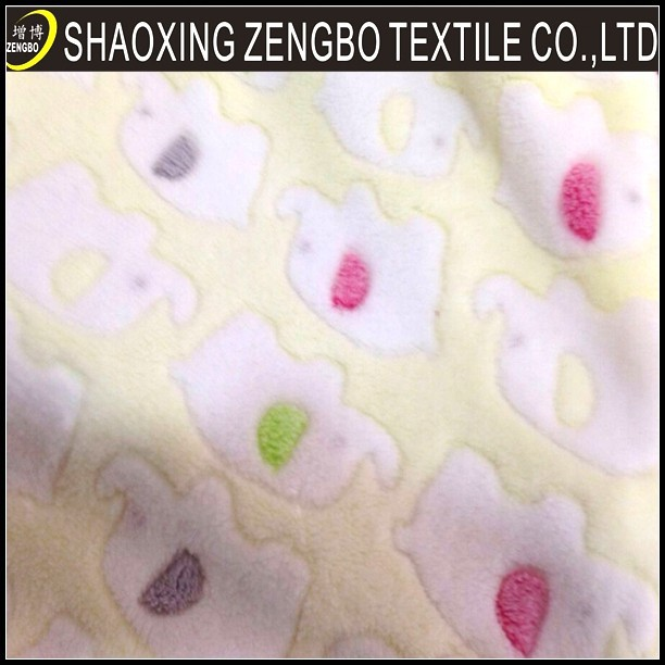 factory direct supply lovely elephant printed embossed coral fleece fabric