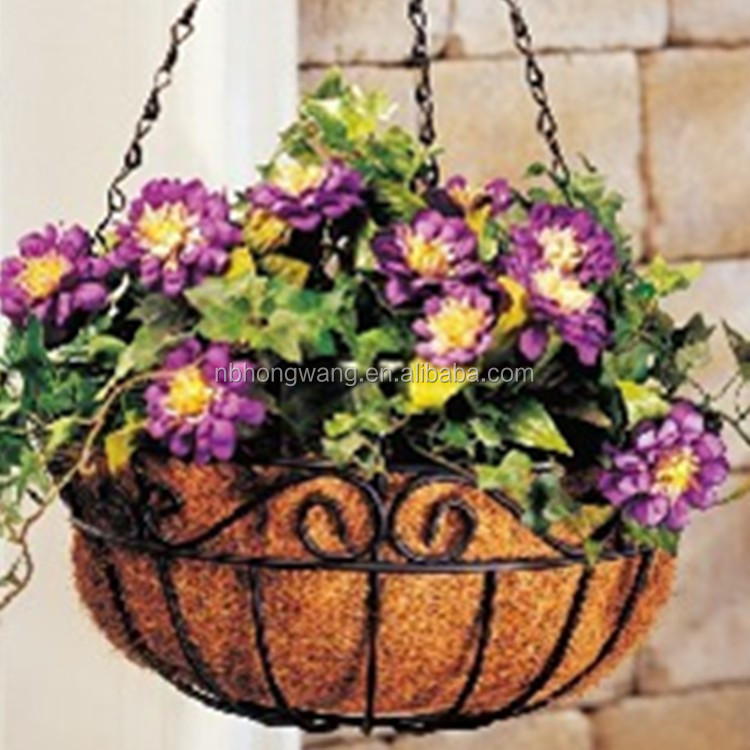 "Wall Mount Planter Coco 14/"" Half Circle Wall Steel Flower Basket with Coco Liner"
