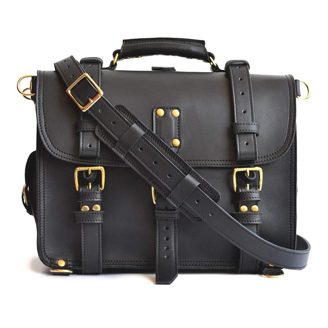 Double Space Briefcase, Black - Heavy Duty Leather Messenger Bag Men, Veg Tan Leather Briefcase Mens, Leather Laptop Bag Women, Backpack Satchel, Crossbody Bag