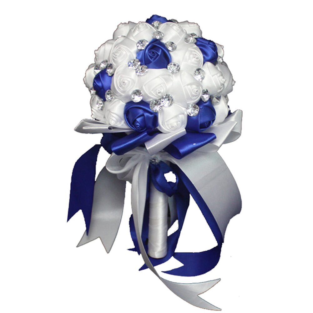 Cheap crystal and pearl wedding bouquets find crystal and pearl get quotations faybox crystal satin rose bridal bridesmaid bouquets wedding flower decor royal blue 2 izmirmasajfo