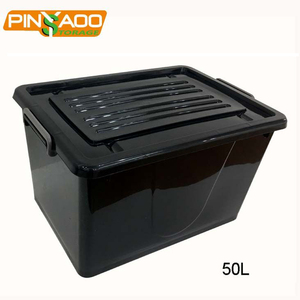Pinyaoo storage factory direct sale new style black yellow, black,white,Blue easy-grip handles plastic moving box