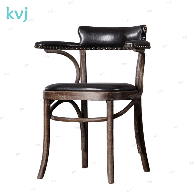 KVJ-7070 vintage bistro armrest leather wood cafe wood chair