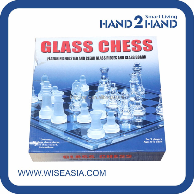 Creative Design Board Game With Glass Chess And Wooden Box For Palying  Drinking