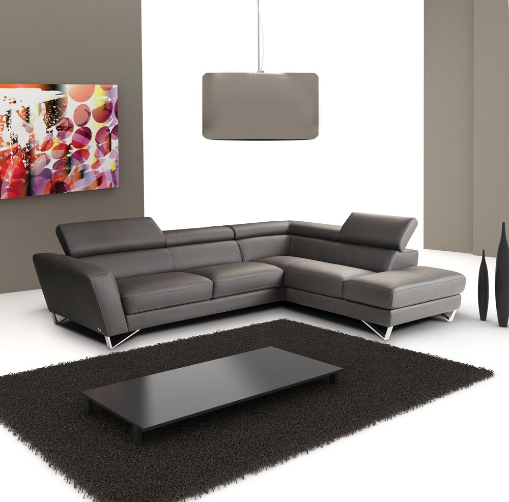 J&M Furniture Sparta Grey Italian Leather sectional Right Hand Facing
