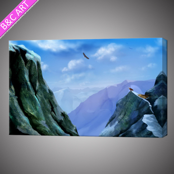 Mountain Acrylic Painting Framed Prints Village Scenery Drawing ...
