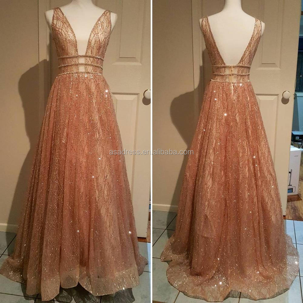 EV88 Sexy Hot Sale Lebanon ChampagneTulle Shiny Luxury Evening gowns Arabic  Designer Evening Dress 25a5f46a0