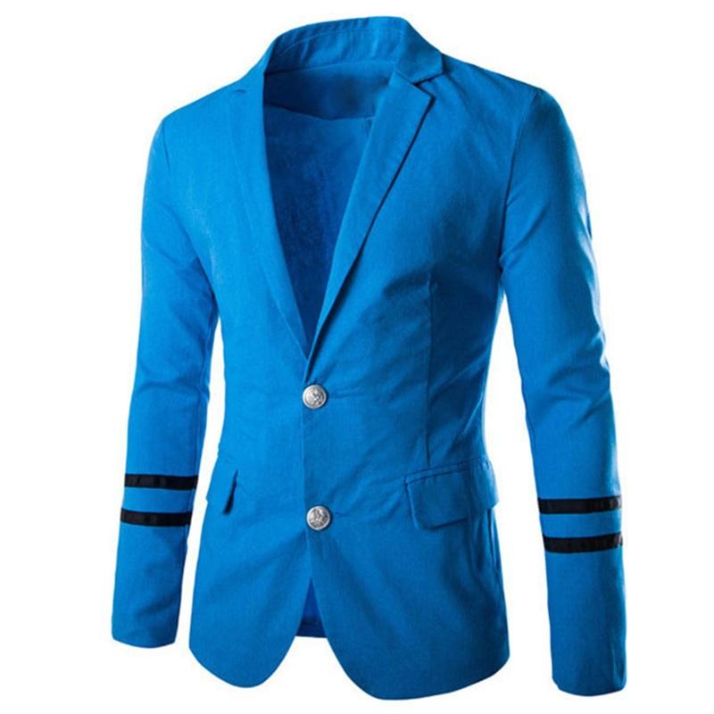 Мужчины костюм мужчины в морской синий металлическая пряжка пиджак приталенный Fit пэчворк мужчины пиджак платье одежда 3 цвета