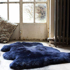 Long wool sheepskin rug white color genuine leather carpet rug