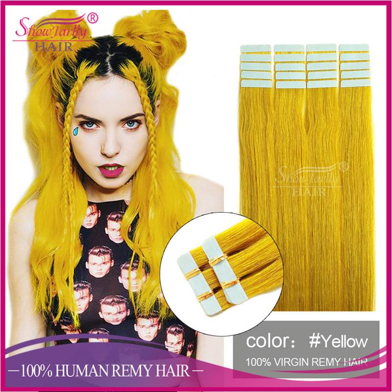 Yellow color straight skin weft remy magic bangs 30 inch remy tape hair extensions fashion accessory