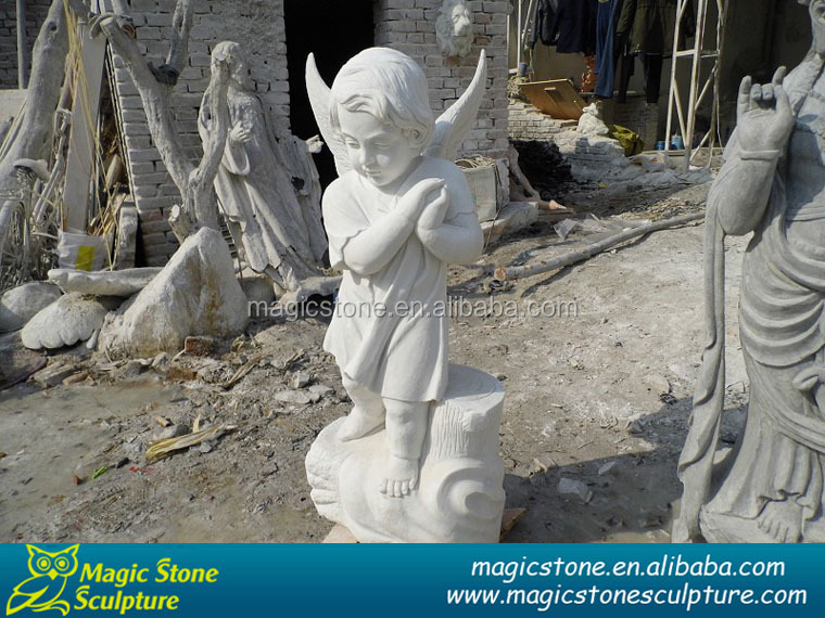 Stone angel figurine with wings