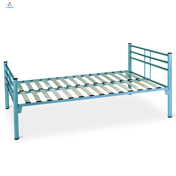 Low Price Single Steel Bed Frame Twin Size Wood Slatted Metal Bed ...
