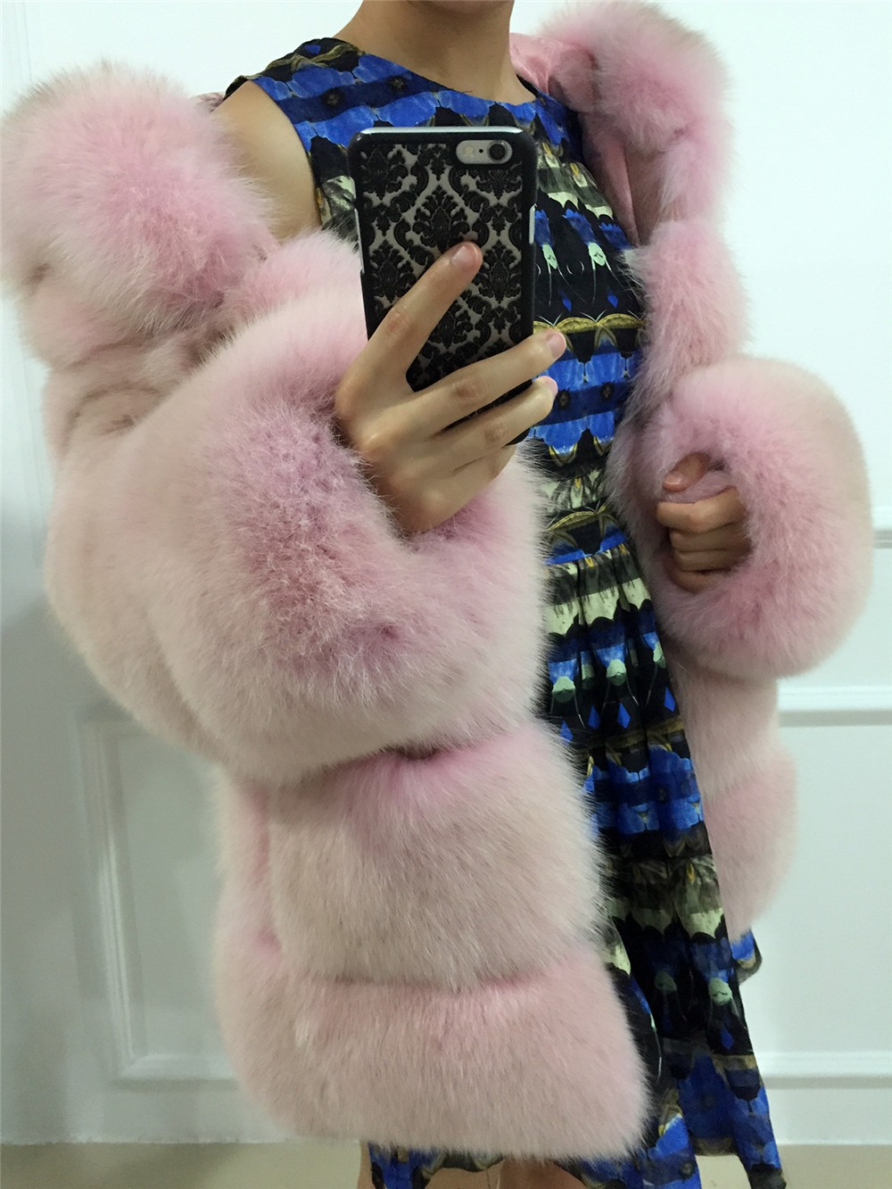 Lantian Fur real blue blue fox Original color coat dusty pink
