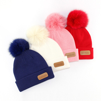 39d7cb172dd adult kids New style baby warm winter pom poms hat custom knitted pom  beanie hat with