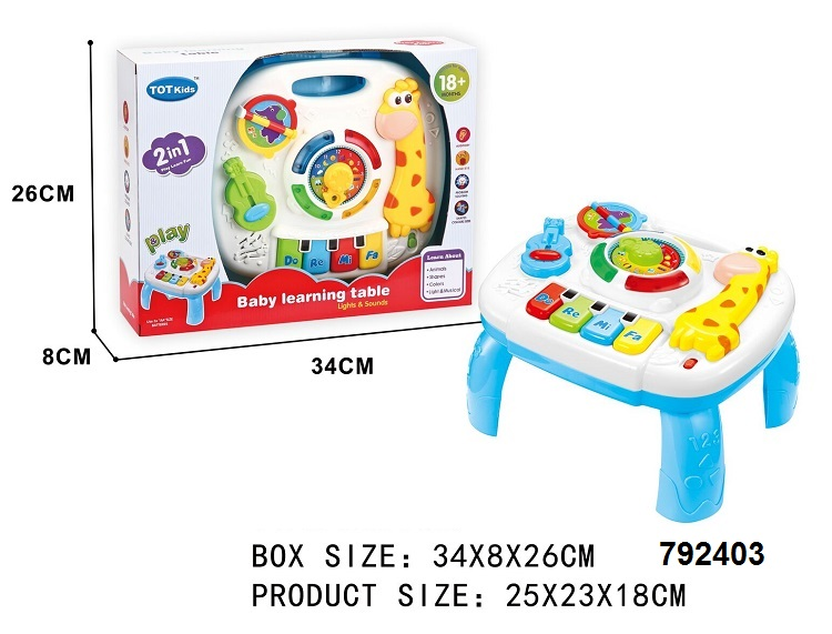 2 in 1 colorful animal design baby education toys musical learning table with lights