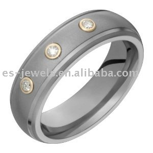 Titanium Ring with Diamonds and 14K Gold Collets