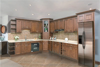 Antique Style Modular Kitchen Cabinet with Lazy Susan Cabinet