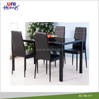 5 Piece Kitchen Dining Set Glass Dining Table and 4 Chairs