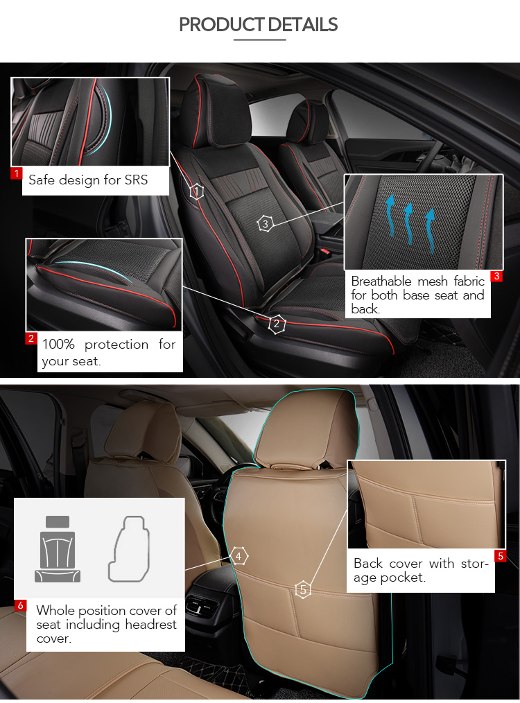 Mcow Wholesale Universal Size Fitting Full Set 9PCS PU Leather Car Seat Covers