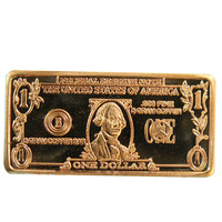 High quality bullion bars 5 Gram 999 Fine Copper One Dollar $1 Bar