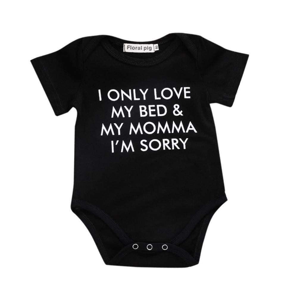 Newborn Toddler Infant Baby Boys Girls Letter Print Romper Short Sleeve Jumpsuit  Outfits 8a576b46c
