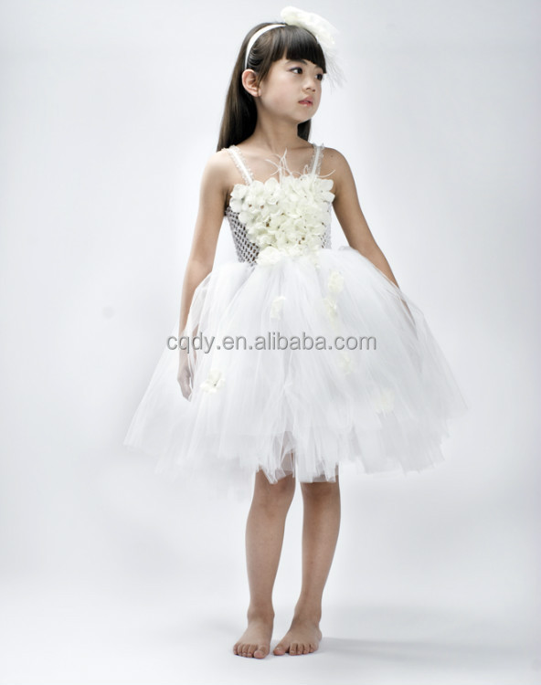 2017 Elegant White Flower Dress With Silk 12 Year Old