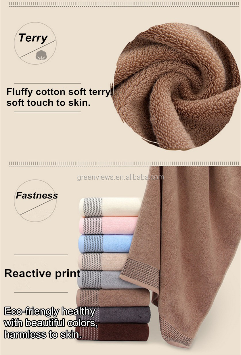 Manufacturers 100% cotton Towels Fabrics Beach Towel Terry Cotton Bath Towel For Hotel