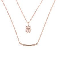YWMT 2019 New Design Wholesale Double Layers Necklace 14 K Gold Heart & Skull & Owl Pendant Fancy Necklace For Women