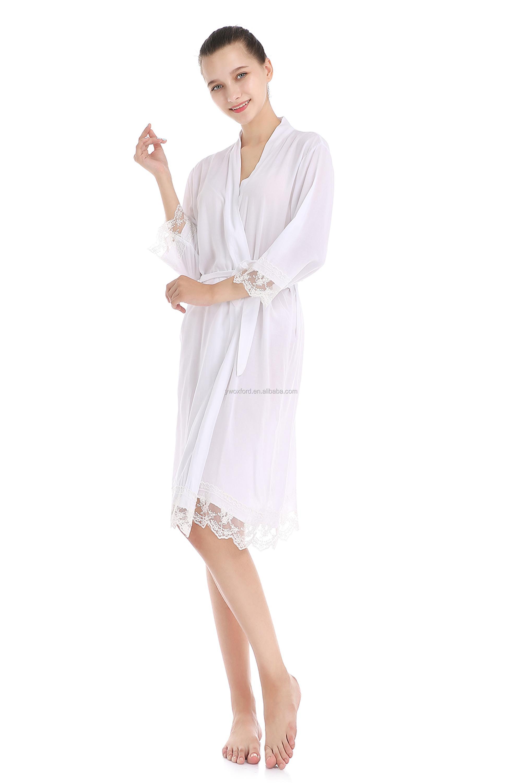ffd3eda22a3 Meilleur Vendeur femmes Dentelle Kimono Peignoir Vêtements De Nuit Chemise  De Nuit coton Robe Courte