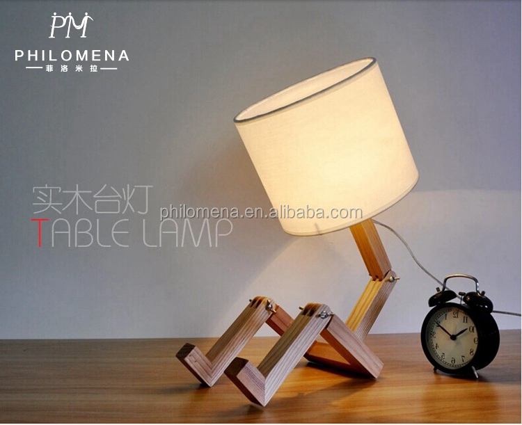 Table-Light New style Ash Wood read table lighting robot wooden table Lamps